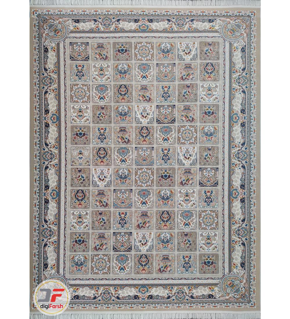 فرش طرح باغ فین ۱۲۰۰ شانه کاشان زمینه بژ کد ۲۲۱۲۷۸