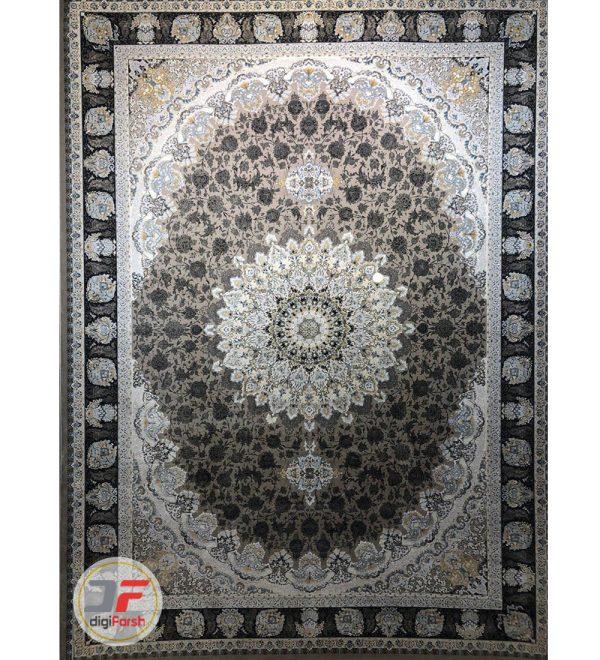 فرش قیطران کاشان طرح الهه خاکستری | 1200 شانه گل برجسته کد 461258