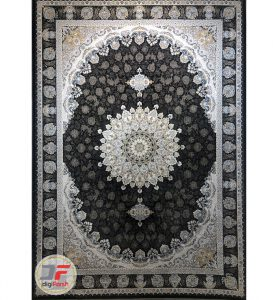 فرش ماشینی قیطران طرح الهه زغالی - 1200 شانه گل برجسته کاشان کد 461257