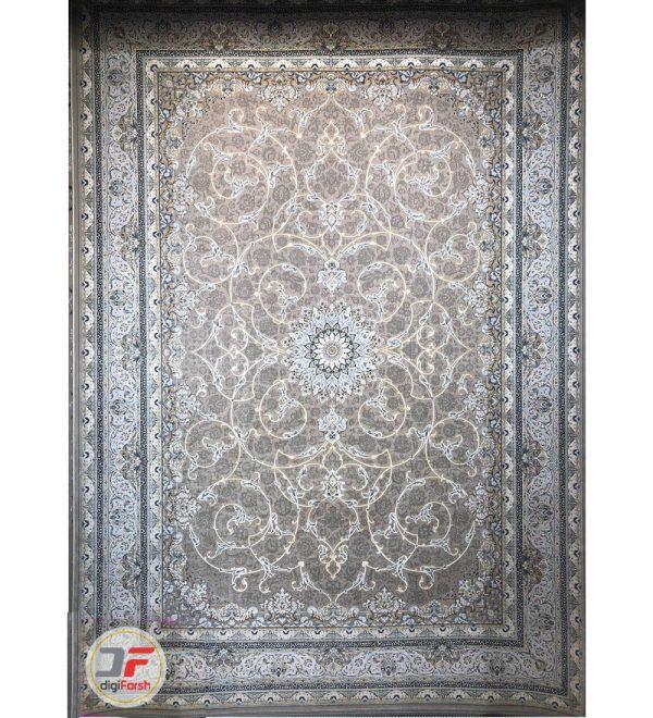 فرش ماشینی قیطران طرح شبنم خاکستری | 1200 شانه گل برجسته | کد 461260