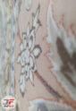 فرش ماشینی کاشان طرح نائین اصفهان گردویی | 1200 شانه گل برجسته کد 221279