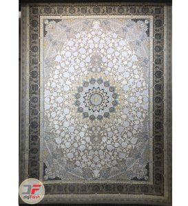 فرش 1200 شانه قیطران طرح نسترن | فرش گل برجسته کاشان کد 461270