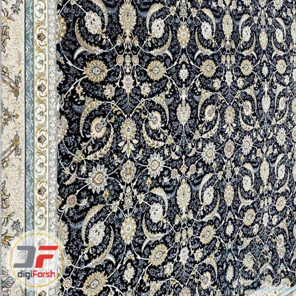فرش ماشینی پامچال کاشان طرح افشان تیره | 1200 شانه گل برجسته کد 232250