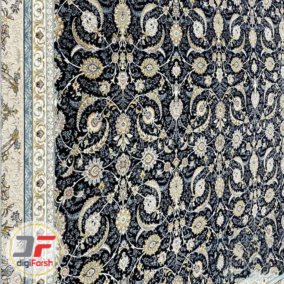 فرش ماشینی پامچال کاشان طرح افشان تیره | 1200 شانه گل برجسته کد 231250