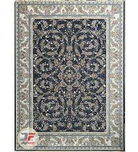 فرش ماشینی پامچال طرح افشان کاشان | 1200 شانه زمینه مشکی کد 231252