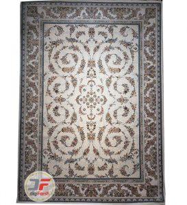 فرش افشان طرح گل گندمی پامچال کرم | فرش 1200 شانه گل برجسته کد 231259