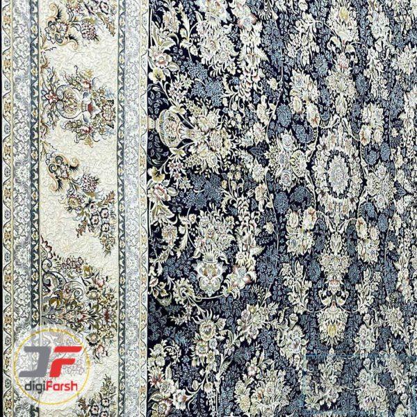 فرش افشان پامچال کاشان 1200 شانه - گل برجسته زمینه سرمه ای کد 231254