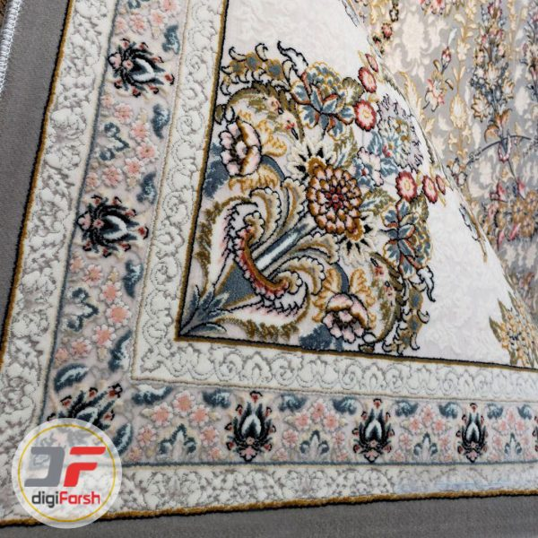 فرش ماشینی پامچال طرح گل گندمی طوسی - فرش 1200 شانه کاشان کد 231263