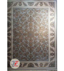فرش ماشینی پامچال طرح ترمه طوسی - 1200 شانه گل برجسته کد 231262