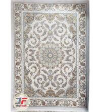 فرش 1200 شانه پامچال طرح ترنج نقره ای | فرش گل برجسته کد 231258