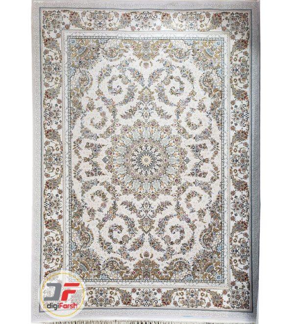 فرش 1200 شانه پامچال طرح ترنج نقره ای   فرش گل برجسته کد 231258