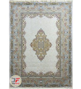 فرش 1200 شانه پامچال کاشان | فرش گل برجسته ریز بافت زمینه کرم کد 231245