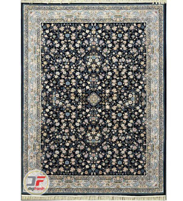 فرش ماشینی پامچال طرح افشان زمینه مشکی | 1200 شانه گل برجسته کد 231248