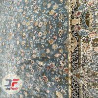 فرش 1200 شانه افشان پامچال کاشان گل برجسته زمینه آبی کد 231246