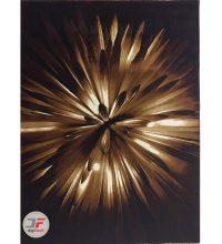 فرش اتاق خواب سه بعدی بزرگمهر کاشان طرح گل زمینه تیره کد 16035