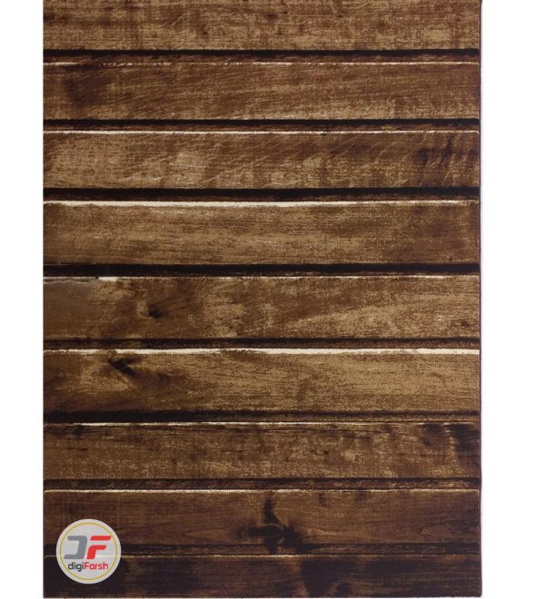 فرش سه بعدی بزرگمهر آشپز خانه طرح چوب زمینه تیره کد 16033
