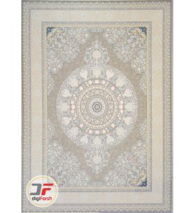 فرش 1200 شانه شاهرخ طرح ورساچ نقره ای زمینه روشن کد 381243