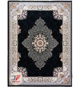 فرش 700 شانه شاهرخ طرح آماندا - فرش زمینه زمینه تیره (سرمه ای) کد 387015