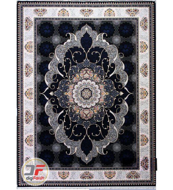 فرش ماشینی 700 شانه طرح چکامک سرمه ای شاهرخ کاشان کد 387017