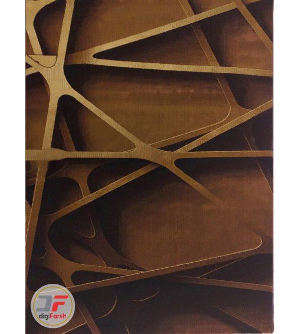 فرش سه بعدی هندسی بزرگمهر کاشان زمینه تیره (قهوه ای) کد 16043