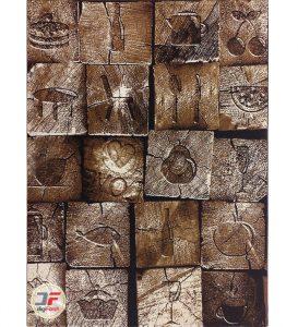 فرش سه بعدی طرح خشتی چوبی 320 شانه بزرگمهر کاشان تراکم 1400 کد 16041