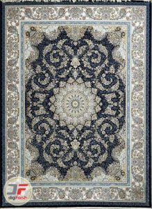 فرش پامچال طرح ترنج سرمه ای – فرش ۱۲۰۰ شانه گل برجسته کاشان کد ۲۳۱۲۵۳