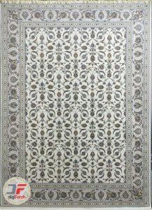 فرش افشان نائین پامچال کاشان | ۱۲۰۰ شانه زمینه نقره ای روشن کد ۲۳۱۲۴۹