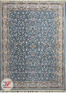 فرش ۱۲۰۰ شانه افشان پامچال کاشان گل برجسته سعادت آبی کد ۲۳۱۲۴۶