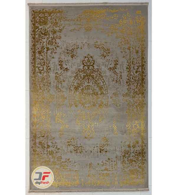 فرش مدرن و فانتزی ماشینی گل برجسته زمینه طوسی طلایی وینتیج کد 34-143