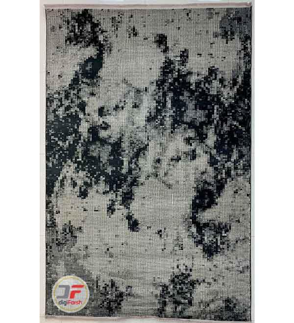 فرش فانتزی وینتیج گل برجسته زمینه طوسی سرمه ای کد 31-153