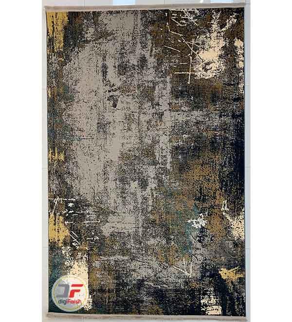 فرش اتاق خواب مدرن کهنه نما طرح گل برجسته زمینه طوسی سرمه ای کد 32-159
