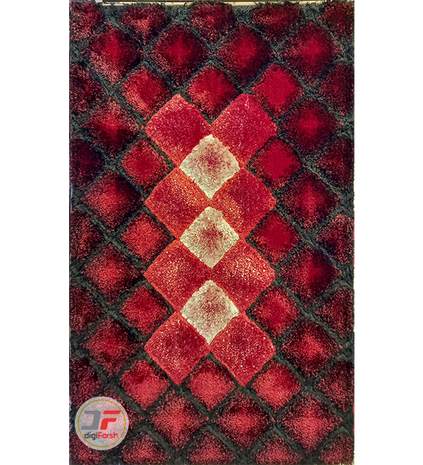فرش ماشینی طرح سه بعید پرز بلند زمینه قرمز سفید مشکی کد 5090