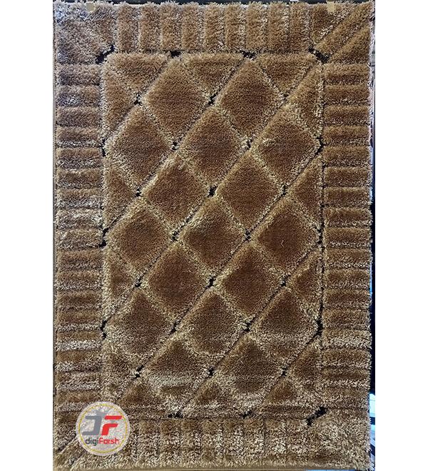 فرش پرز بلند ماشینی طرح سه بعدی زمینه بژ قهوه ای کد 11022