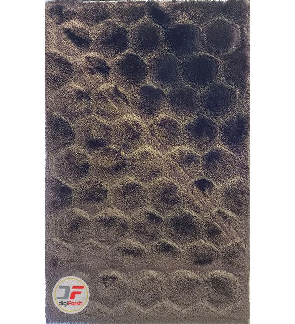 فرش شگی پرز بلند مدرن کاشان طرح سه بعدی زمینه قهوه ای کد 5016