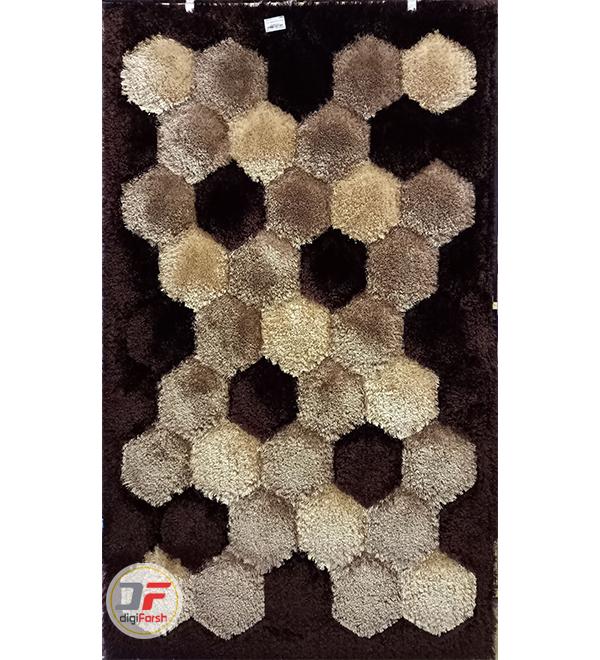 فرش ماشینی فانتزی پرز بلند کاشان طرح سه بعدی زمینه کرم قهوه ای کد 5016