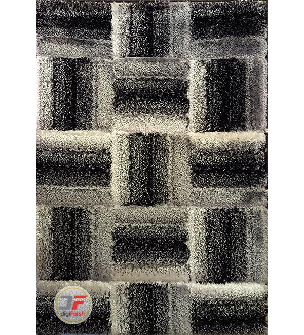 فرش ماشینی طرح سه بعدی پرز بلند زمینه سفید مشکی کد 5085