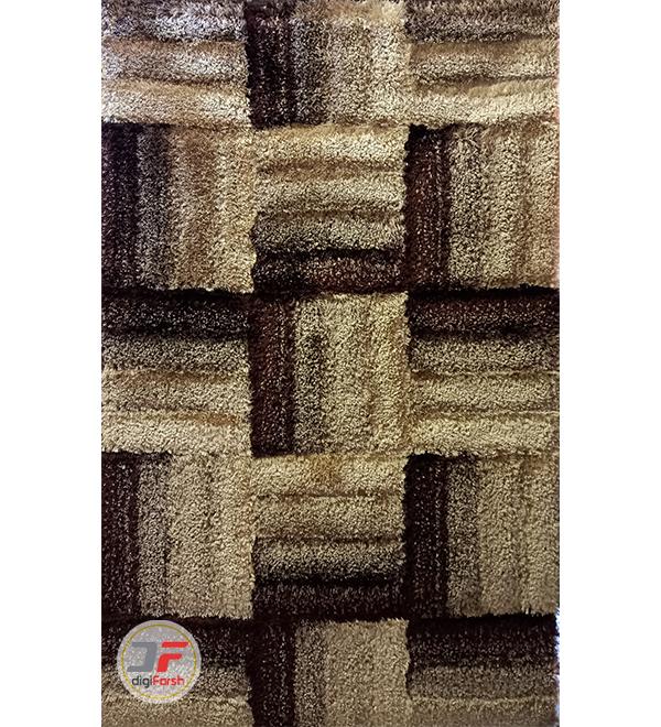 فرش ماشینی شگی طرح سه بعدی زمینه کرم قهوه ای کد 5085