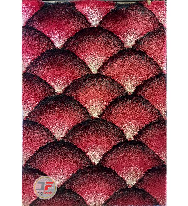 فرش پرز بلند ماشینی طرح سه بعدی زمینه قرمز سفید مشکی کد 5089