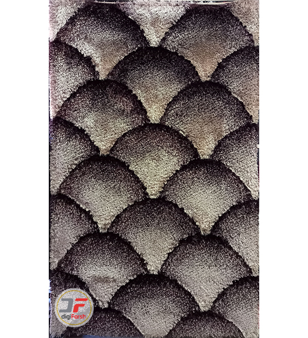 فرش ماشینی شگی سه بعدی زمینه کرم قهوه ای کد 5089