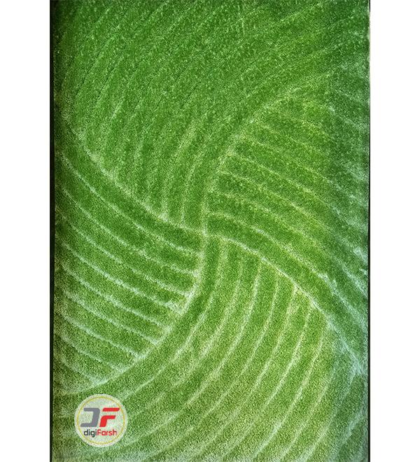 فرش پرز بلند شگی طرح سه بعدی زمینه سبز کد 5008
