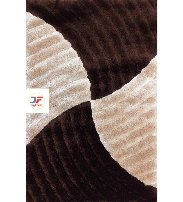 فرش شگی سه بعدی مدرن کاشان زمینه کرم قهوه ای کد 5008