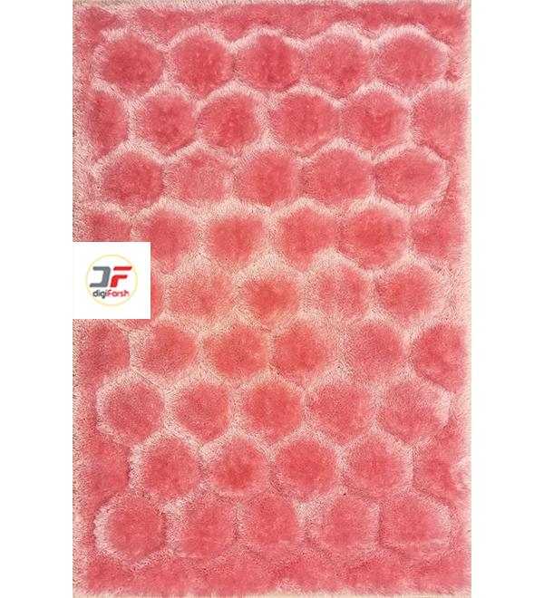 فرش شگی سه بعدی مدرن فانتزی کاشان زمینه صورتی کد 5016