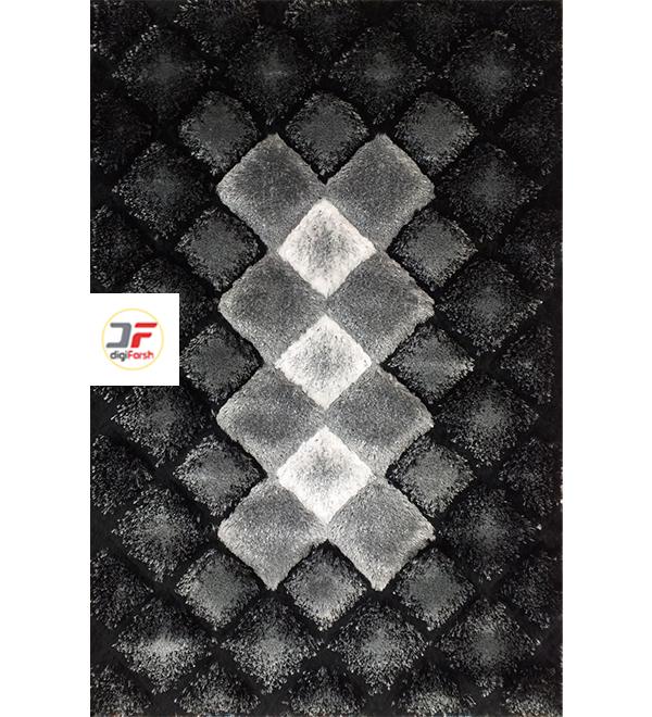 فرش ماشینی پرز بلند دودی سه بعدی کاشان کد 5090
