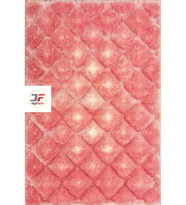فرش سه بعدی شگی پرزبلند زمینه صورتی کاشان کد 5090