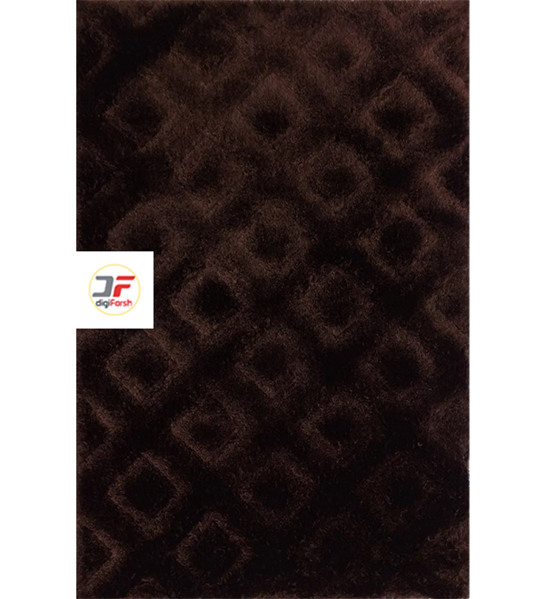 فرش مدرن فانتزی پرز بلند سه بعدی کاشان زمینه قهوه ای کد 5128