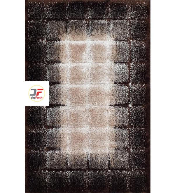فرش پرزبلند شگی مدرن سه بعدی زمینه بژ قهوه ای کد 5129