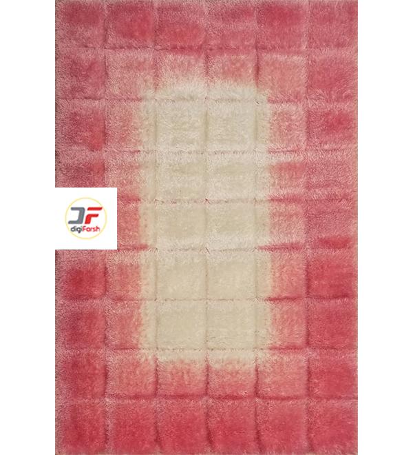 فرش مدرن طرح شگی سه بعدی سفید صورتی کد 5129