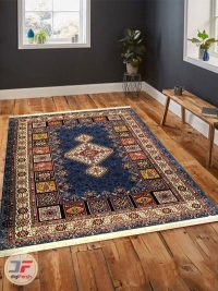فرش سنتی زمینه آبی کاربنی داخل دکور