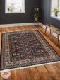 نمای داخل دکور فرش طرح سنتی ماشینی زمینه سرمه ای کد 108