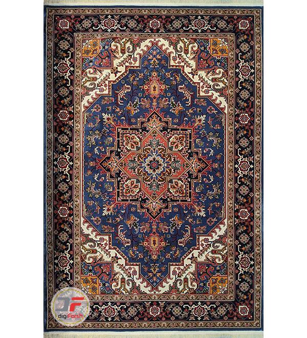 نمای کلی فرش طرح سنتی زینه آبی کاربنی کد 101